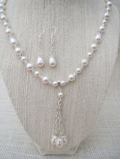 White Swarovski Necklace Earrings with Pearl Drops by jazzybeads