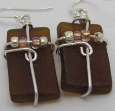 Brown Amber Beer Bottle Glass Earrings by ruddlecottage on Etsy, $16.50