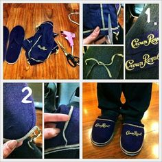DO IT YOURSELF! I created these Crown Royal slippers for my alcoholic roommates. See, recycling these bags did come in handy. Peep my blog—>www.yellowstardrea.tumblr.com<— for the full DIY instructions!