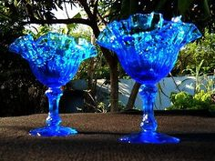 Vintage Glass Blue Ruffled Floral Dessert Candy Dish Set of  2 Scalloped Base