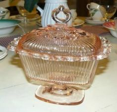 Pink Depression Glass Candy Dish