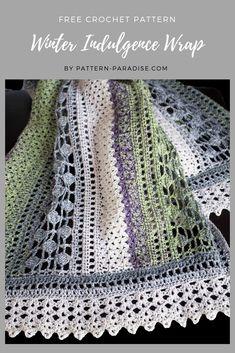Free Crochet Pattern: Winter Indulgence Wrap - New Ideas Crochet Afgans, Knit Or Crochet, Crochet Scarves, Crochet Crafts, Crochet Projects, Crochet Shawl Free, Crochet Patterns For Scarves, Crochet Blankets, Irish Crochet