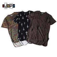 Mens Urban Clothing T-shirts Camo Print Hip Hop After Long Skateboard Elongated Hipster Tees T Shirt Streetwear For Men #Affiliate
