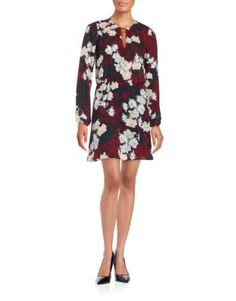 Keyhole Floral Dress Design Lab, Plaid Dress, Lord & Taylor, Go Shopping, Fit And Flare, V Neck, Long Sleeve, Polyester Spandex, Casual