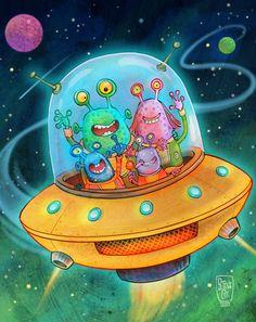 Space Tourists by Steve Cox, via Behance