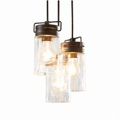 allen + roth Vallymede 9.84-in Aged Bronze Barn Multi-Light Clear Glass Jar Pendant