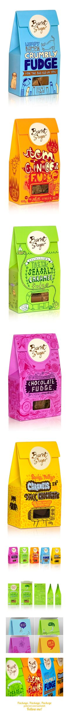Burnt Sugar packaging *** Burnt Sugar is a boutique brand of fudge with humble beginnings.studio, via Behance Sugar Packaging, Branding And Packaging, Cool Packaging, Chocolate Packaging, Beverage Packaging, Print Packaging, Pouch Packaging, Candy Packaging, Packaging Ideas