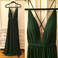 Dark Green V-Neck Prom Dress,Long Prom Dresses,Charming Prom Dresses,Evening Dress Prom Gowns, Formal Women Dress,prom dress
