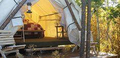 The tents at Linn Canyon Ranch require no setup: http://linncanyonranch.com/