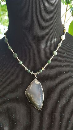 Moss Agate Necklace  $30 buy or trade