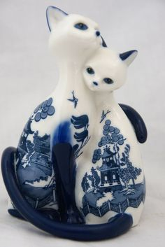 Tail of Two Lovers Porcelain Cat Peaceful Passages Hamilton Collection Figurine