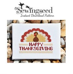 Happy Thanksgiving Turkey Cross Stitch Pattern by Sewingseed, $5.00