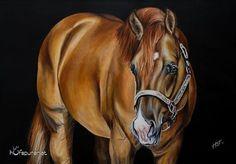 """Der #quarterhorse #hengst """"I am a Ruf Boy"""" in der wunderschönen #farbe #reddun strahlt auf dem #pferdegemälde. Vom Besitzer wird er auch gern """"Bowie"""" genannt.   #futurity #futurityhorse #futuritychampion #nrha #reininghorse #reining #stallion #italianderby #sailinruf #westernhorse #pferdebilder #bayernspferde #deutschlandspferde #pferd #horsesofinstagram #hufspuren"""