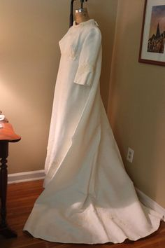 Vintage Wedding Gown with Watteau Train  Fabric appears to be ottoman or bengaline. Jackie style. ca. early mid 60s