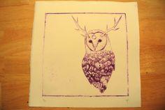 Owl Totem  Drypoint Intaglio Print OOAK  Purple by UnnaturalNature