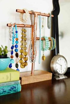 12 Diy Necklace Holder Ideas To Spark Your Imagination Diy Jewelry Holder Diy Jewelry Holder Jewellery Storage 12 Diy Necklace Holder Ideas To Spark Your Imagination Diy Copper And Marble Jewelry Stand Lovely Indeed Diy… Diy Necklace Hooks, Diy Jewelry Holder Tree, Jewelry Holder Stand, Diy Necklace Display Stand, Jewelry Organizer Stand, Bracelet Organizer, Necklace Storage, Jewelry Hanger, Hanging Jewelry