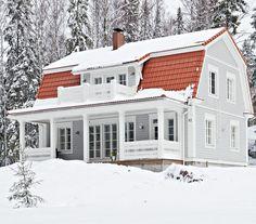 Mustavalkoinen pehmo | Koti ja keittiö Nordic Home, Scandinavian Home, Home Focus, Gambrel Roof, Grey Houses, Dutch Colonial, Cute House, Cottage Farmhouse, House Layouts