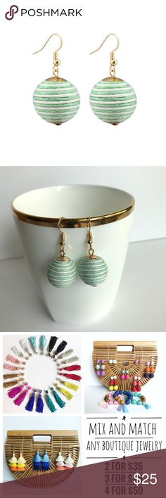 "⭐️2/$30⭐️ Threaded Ball Earrings GREEN/WHITE These trendy crispin les bon bon style earrings are fun and light weight, making it easy to turn a simple outfit into festive. Peppermint colors perfect for holiday and Christmas parties! Delicate gold detail and fish hook closures. Size : 0.8"" X 1"". Other colors available! Mix and Match any boutique jewelry: any 2 items for $30, any 3 items for $40, or any 4 items for $45! Jewelry Earrings"