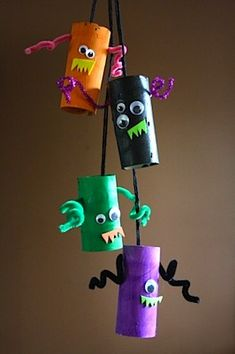 Happy Hooligans toilet roll tube monsters mobile halloween craft