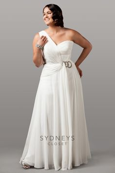 Sophisticated chiffon one-shoulder bridal gown | Plus Size Special Occasion Dresses | OneStopPlus