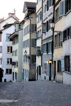 Street in Zurich, Switzerland Warm Kitchen, Heart Of Europe, Home Again, Zurich, Switzerland, Yard, Street, Patio, Courtyards