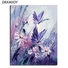 Imágenes sin marco pintura by números pintados a mano lienzo de dibujo de la historieta diy pintura al óleo by números 40*50 cm mariposa g406