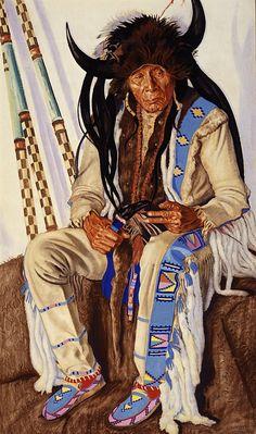 Portrait of Chief Medicine Boss Ribs, Blackfeet medicine man by Winold Reiss (1886 – 1953, German/American)