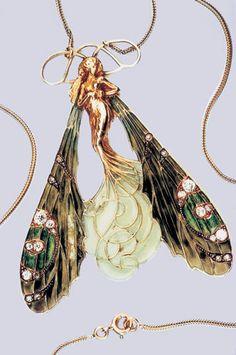 Art Nouveau Plique-à-Jour Enamel, Diamond, and Gold Fairy Pendant by René-Jules…
