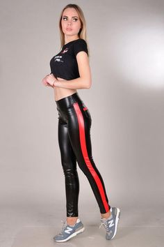 Red & Black Leather Leggings, Side Stripe Pants, Wet Look Leggings, High Waisted Liquid Leggings wit