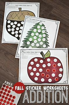 Check out these fall themed FREE addition games! These sticker games are perfect for kindergarten and first grade math centers and SO easy to use. Students will love practicing addition fluency with this engaging game. #kindergarten #firstgrade #addition #freebies #mathcenters Kindergarten Addition Worksheets, Fun Worksheets, Preschool Games, Preschool Kindergarten, Preschool Printables, Subtraction Activities, Numeracy, Homeschool Math, Homeschooling