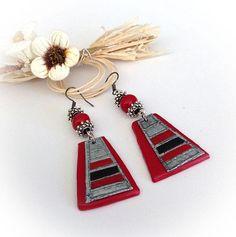 Boucles d'oreille ethniques rouges noires métal