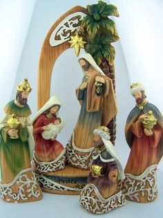 6 Piece Home Christmas Nativity Set Peace on Earth Stable Wood Carved Look 10"