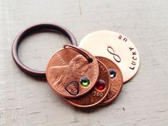 Lucky Us penny keychain hand stamped custom by faeriekissageStudio, $20.00