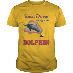 Scuba Diving is my Life Dolphin T-Shirts, Hoodies. CHECK PRICE ==► https://www.sunfrog.com/Hobby/Scuba-Diving-is-my-Life--Dolphin-Yellow-Guys.html?id=41382