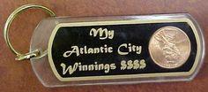 Keyring My Atlantic City Winnings, 1996D Lucky Penny Encased Inside