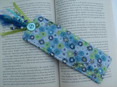 Bookmark  Blue Florals Embellished by shawnz on Etsy, $8.00