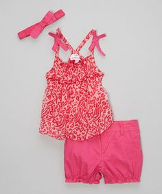 Another great find on #zulily! Dollhouse Pink & Fuchsia Leopard Chiffon Tank Set - Infant by Dollhouse #zulilyfinds