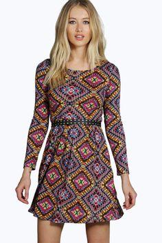 Geraldine Aztec Print Long Sleeve Dress