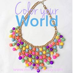 Endless Color Beaded Necklace with Gold Tone Detail by MittmibyD