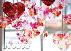 Look at this very beautiful, homemade Valentine's Day craft idea you can make with your kids. All you will need are some old crayons, some wax paper, some string, a paper bag and an iron. Easy, fun and free...you probably have everything you need to make these hearts already! This is my favorite Valentine's Day craft project.