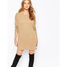 Vila Long Sleeve Knitted Sweater Dress ($36) ❤ liked on Polyvore featuring dresses, camel, vila dress, round neck long sleeve dress, long sleeve dresses, white dress and tall dresses