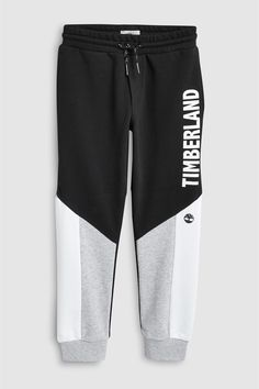 Buy Timberland® Black Colourblock Jogger from the Next UK online shop - Men's style, accessories, mens fashion trends 2020 Boys Joggers, Adidas Joggers, Mens Jogger Pants, Sport Pants, Mens Sweatpants, Mens Capri Pants, Track Pants Mens, Black Timberlands, Jogging Bottoms