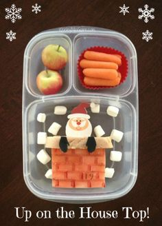 Lunch Made Easy: Up on the House Top! Santa coming down the chimney {Fun Christmas School Lunchbox Ideas for Kids} Kids Lunch For School, School Lunches, Kid Lunches, Christmas Lunch, Christmas Countdown, Christmas Cooking, Dinner Box, Lunch Snacks, Kid Snacks