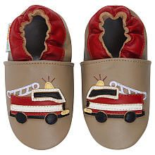 Momo Baby Boys Tan Firetruck Soft Sole Leather Shoes