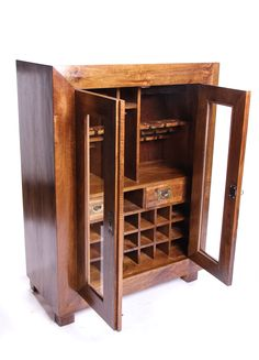 Beautiful hand crafted mango wood bar with drawers.  Also available in a dark finish.