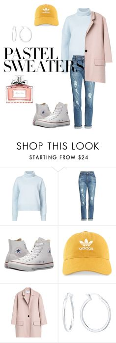 """Pastel Sweater Outfit - CONTEST ✨"" by marion4421 ❤ liked on Polyvore featuring Nili Lotan, KUT from the Kloth, Converse, adidas, Christian Dior and pastelsweaters"