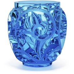 Lalique Tourbillons Limited Edition Blue Vase (8,750 CAD) ❤ liked on Polyvore featuring home, home decor, vases, blue, lalique vase, lead crystal vase, lalique, blue home decor and blue home accessories