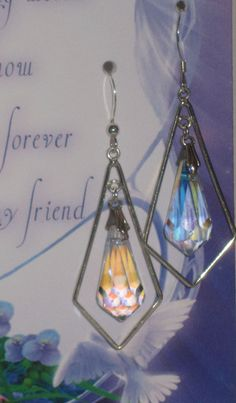 Swarovski Crystal Earrings with Greeting Card by VirginiaCharm, $25.00