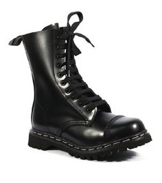 ROCKY-10 Black Leather Boots