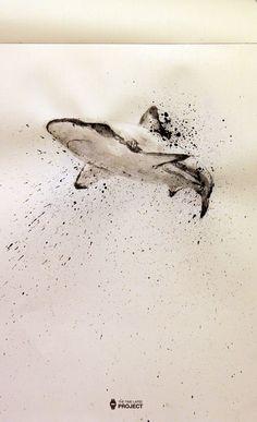 Tiburon con tinta china - The Time Lapse Project Ocean Tattoos, Shark Tattoos, Body Art Tattoos, Watercolor Animals, Watercolor Art, Hai Tattoo, Animal Drawings, Art Drawings, Ocean Drawing